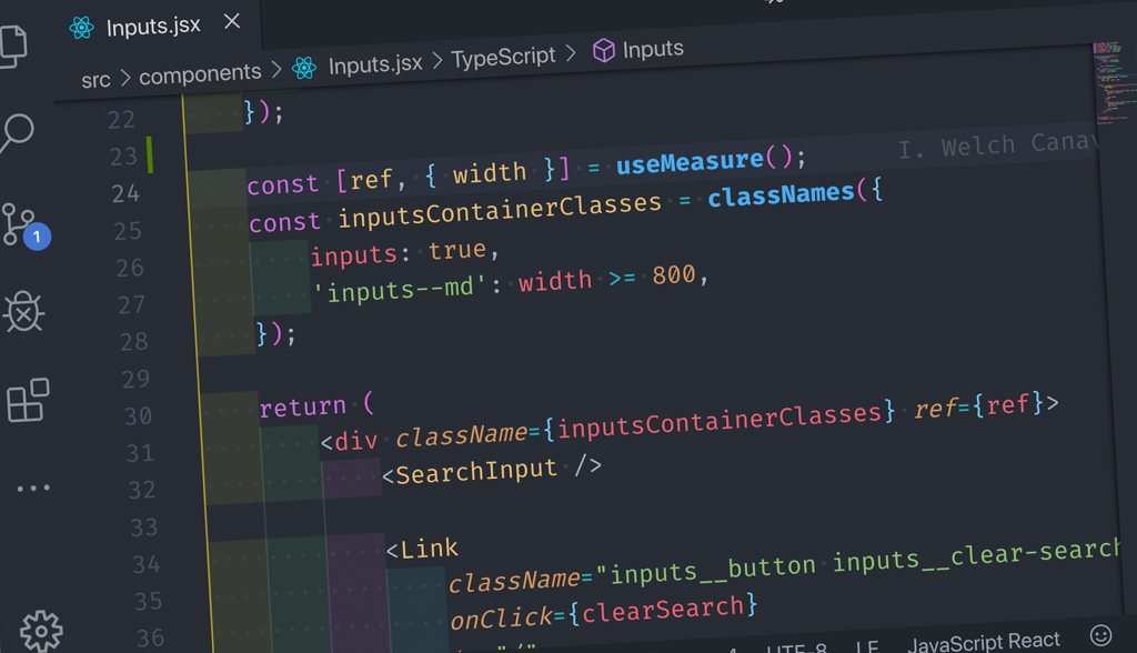 screenshot of react component code include useMeasure reference
